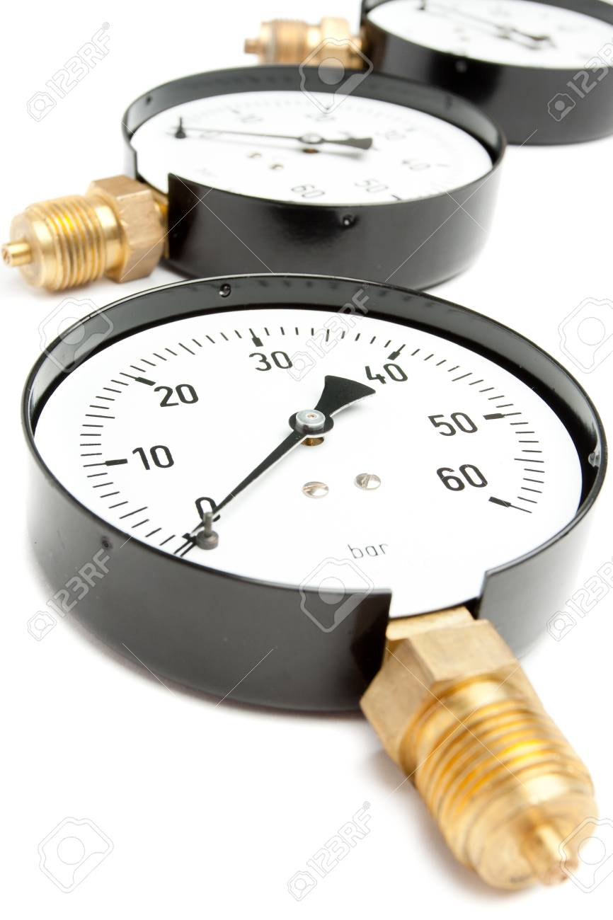 Pressure Gauge isolated On White Stock Photo - 12462613