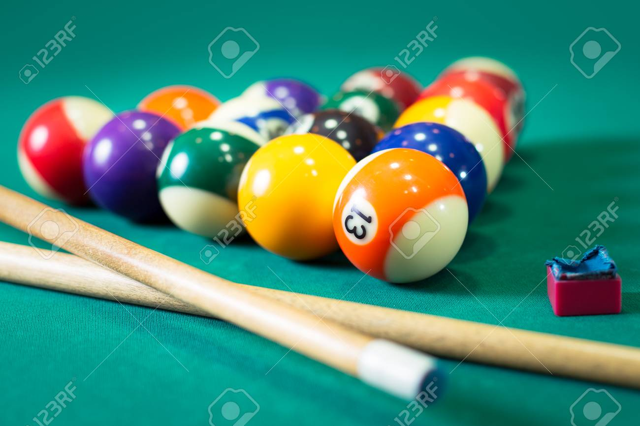 Billiard Balls In A Pool Table Stock Photo   52490003
