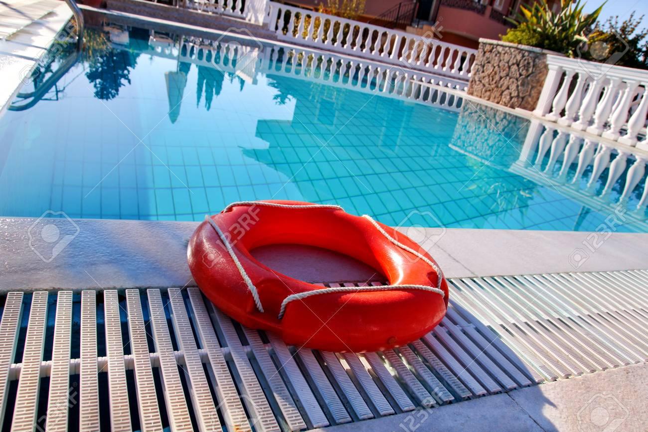 Red Lifebuoy Pool Ring At Swimming Pool Red Pool Ring In Cool