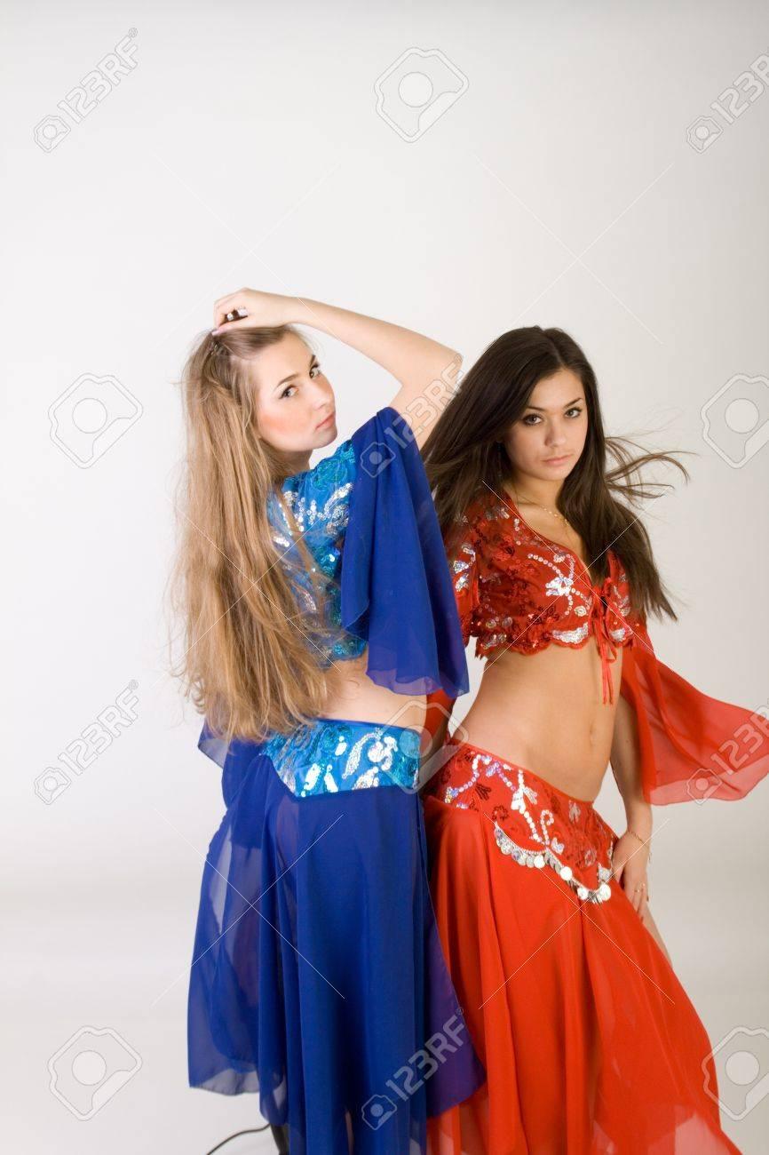 Two girls belly dancing in studio Stock Photo - 7130403