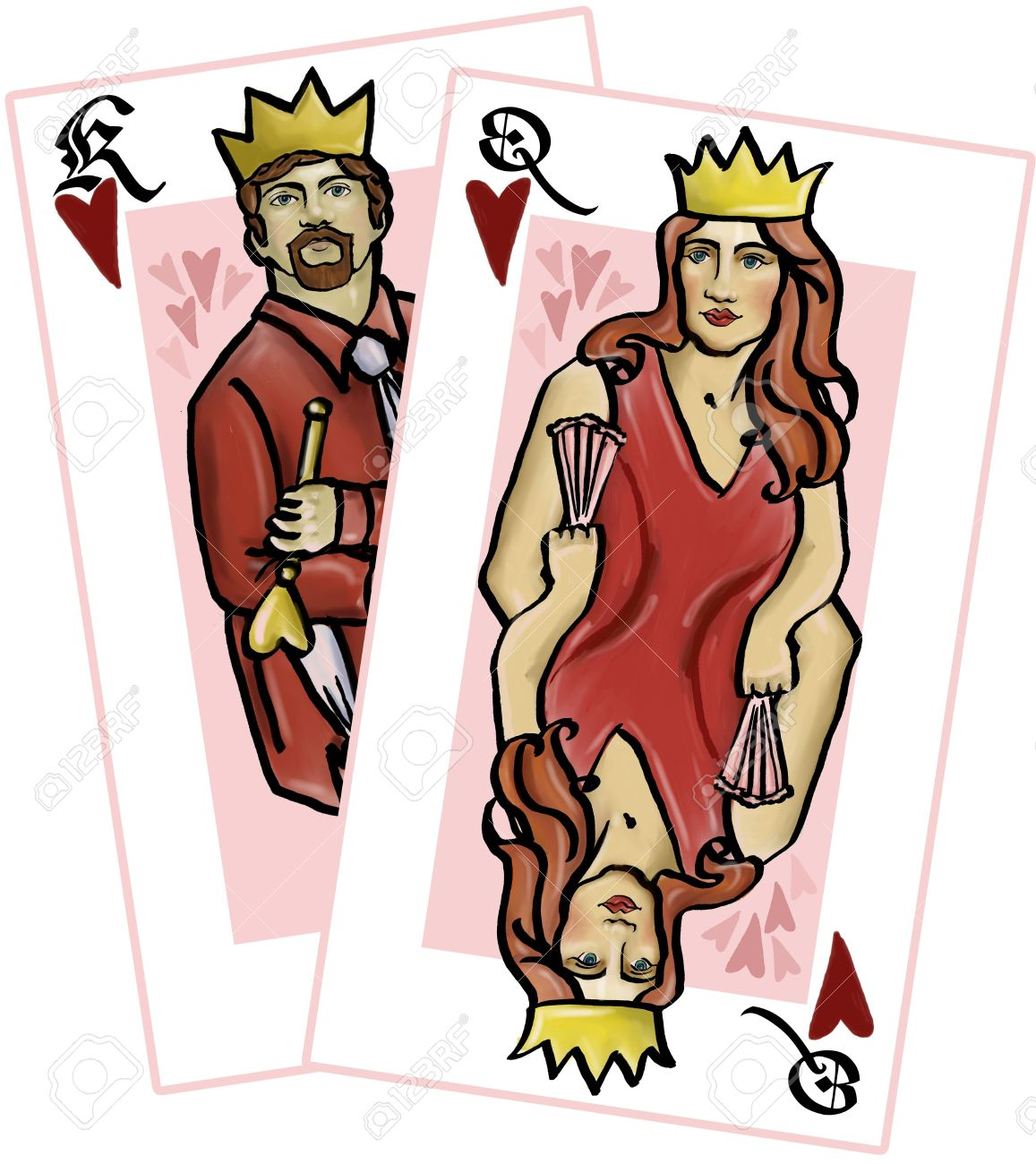 King and Queen of Hearts playing card illustration Stock Illustration - 303238