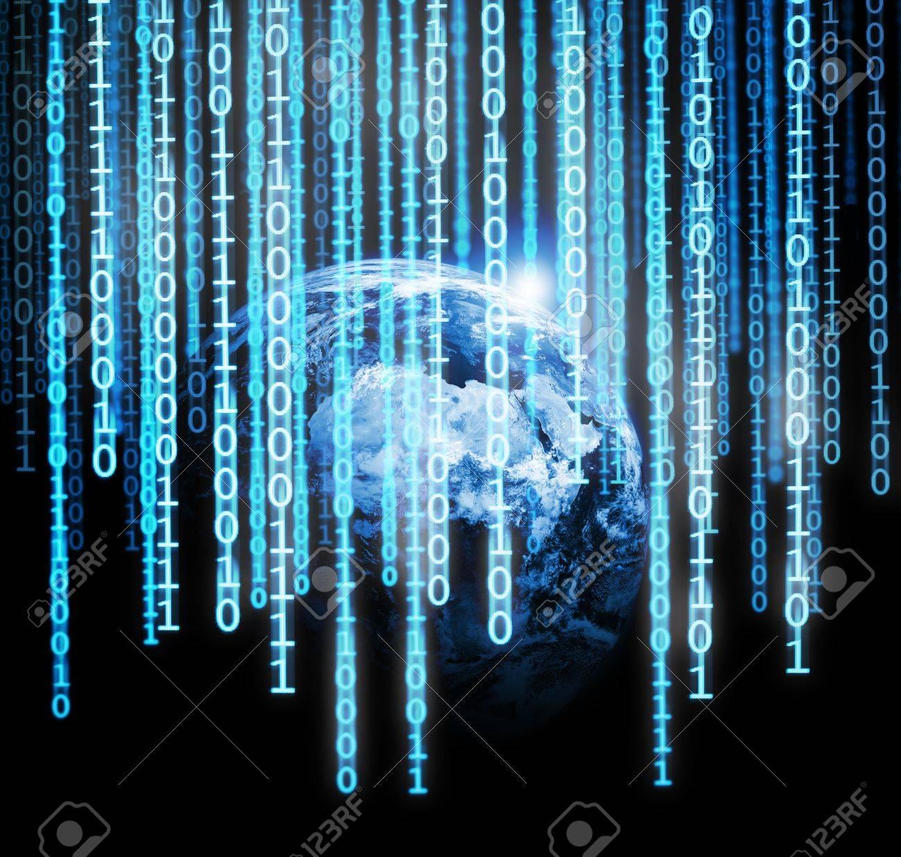 Binary code falling from the stars Stock Photo - 3496426