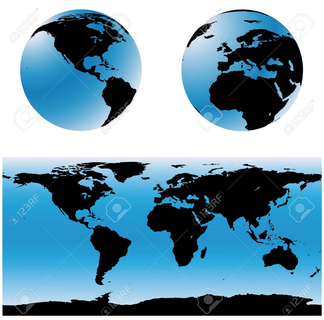 Vectorial World Map Set Two Spheres With USA And Europe Zones - Map of usa with zones