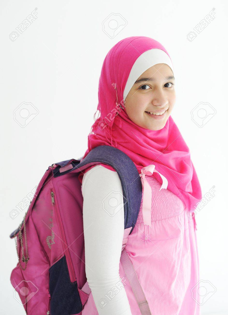 middle eastern arabic girl wearing pink hijab scarf on white stock