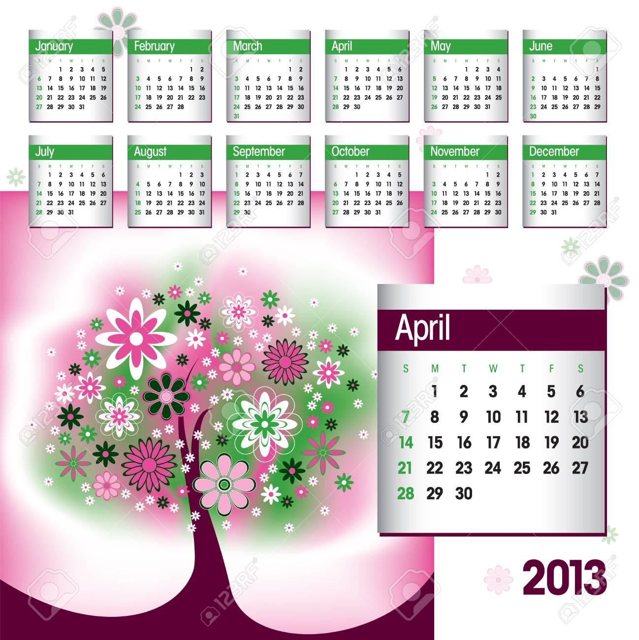 2013 Calendar  April Stock Vector - 14854127