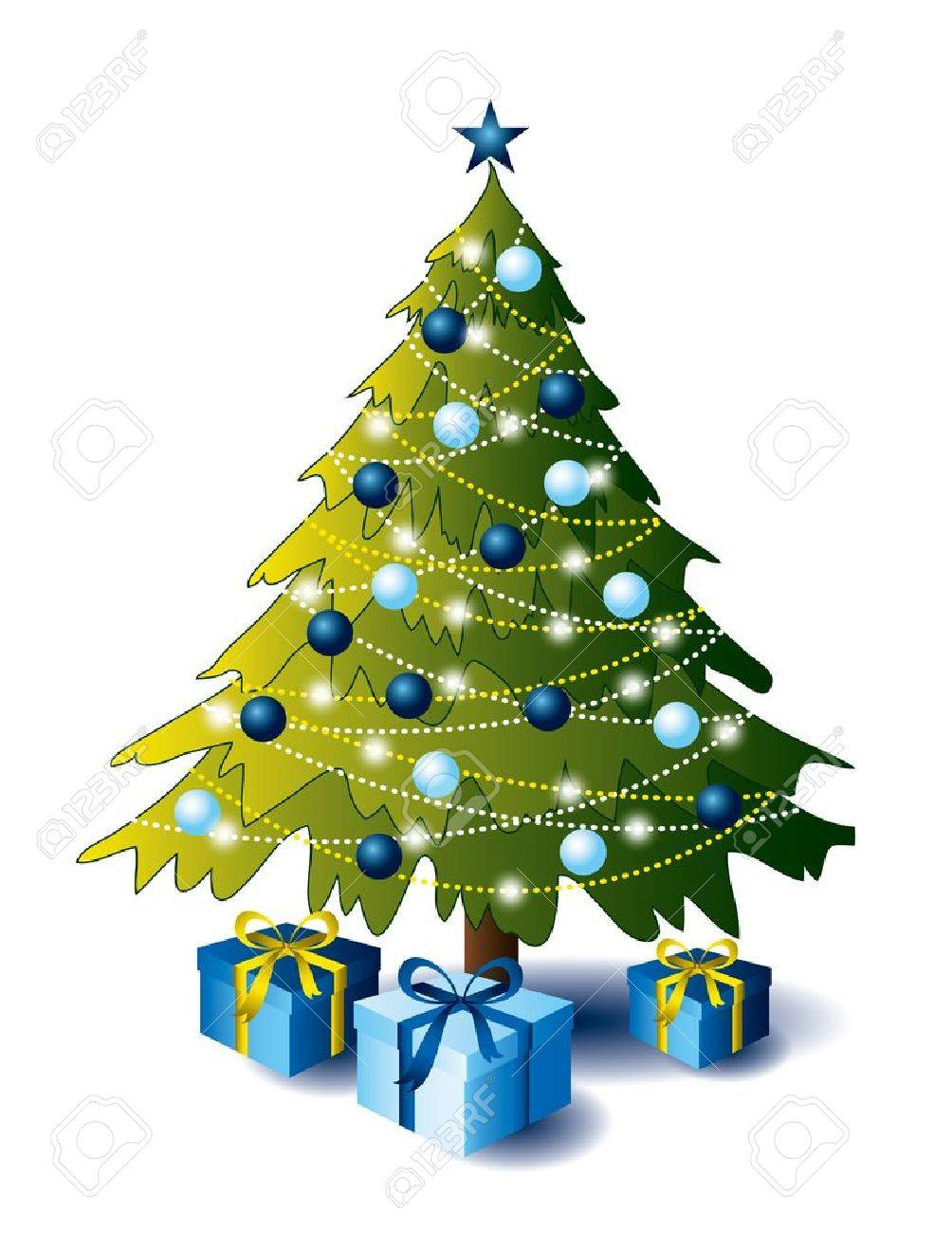 Christmas Tree With Presents Royalty Free Cliparts Vectors And