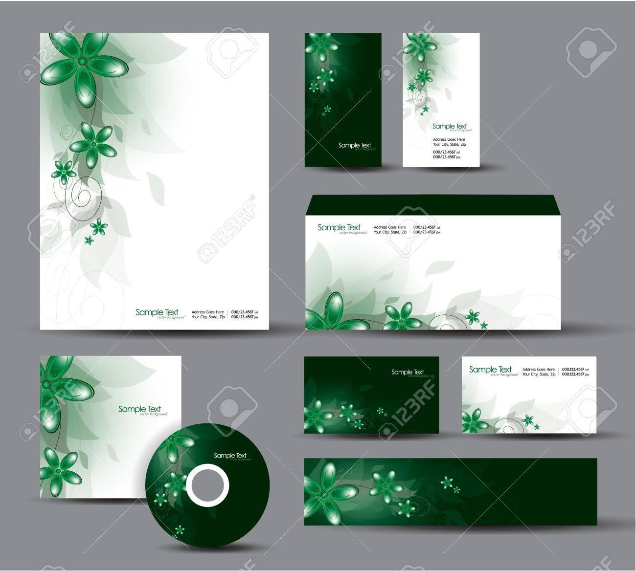 Modern Identity Package  Letterhead, business gift cards, envelope, cd dvd, header banner Stock Vector - 18243004