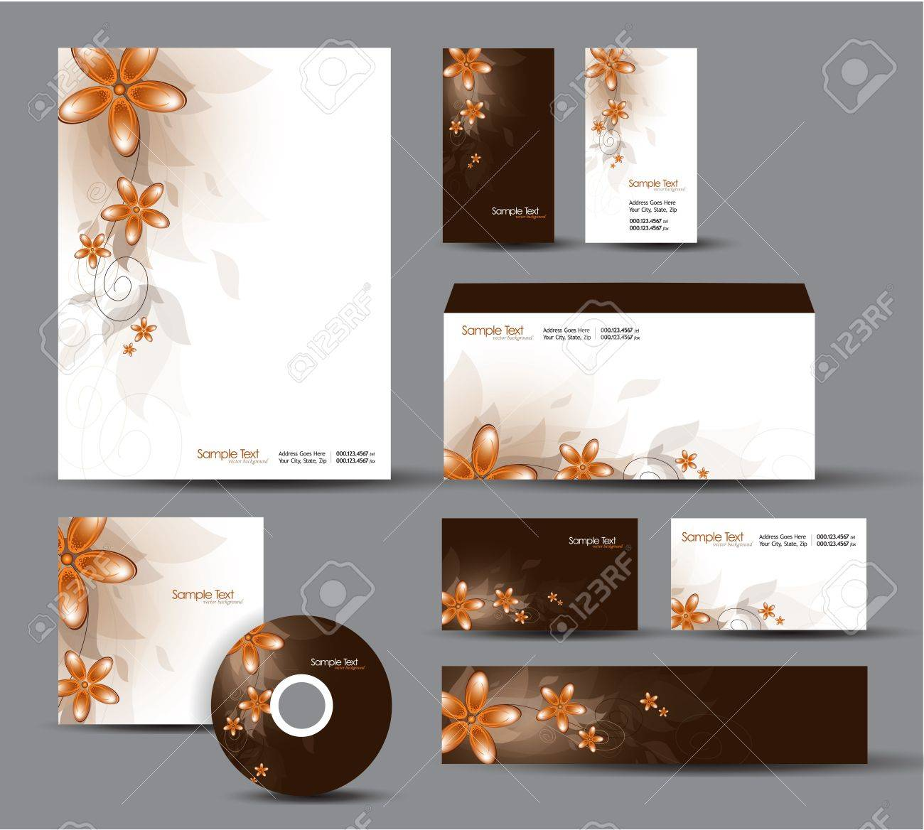 Modern Identity Package  Letterhead, business gift cards, envelope, cd dvd, header banner Stock Vector - 18243003