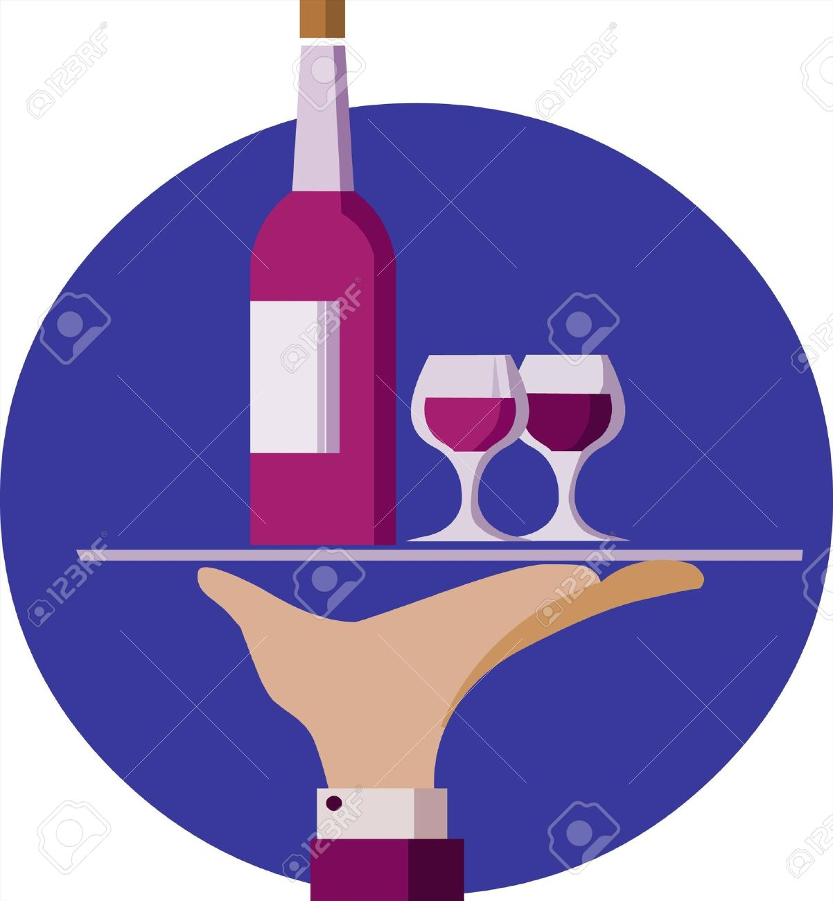Waiter hand hold a serving tray with red wine bottle and two glasses Stock Vector - 7467641