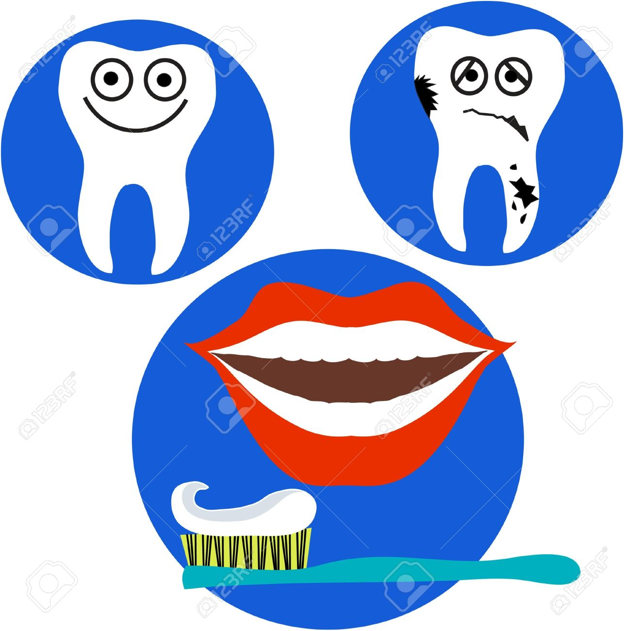 happy and sad tooth and red lips mouth on blue background Stock Vector - 7467682