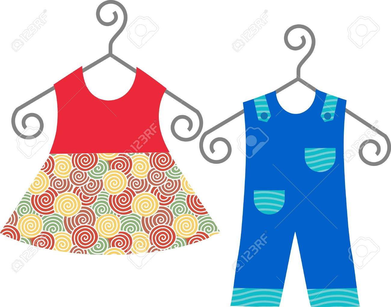 baby clothes hanging on clothes hanger dress and suit royalty free