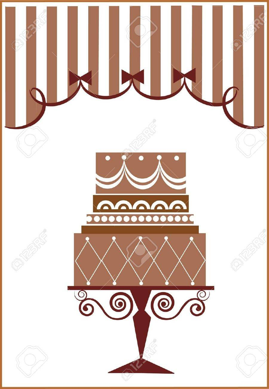 big birthday cake and party Stock Vector - 7513431