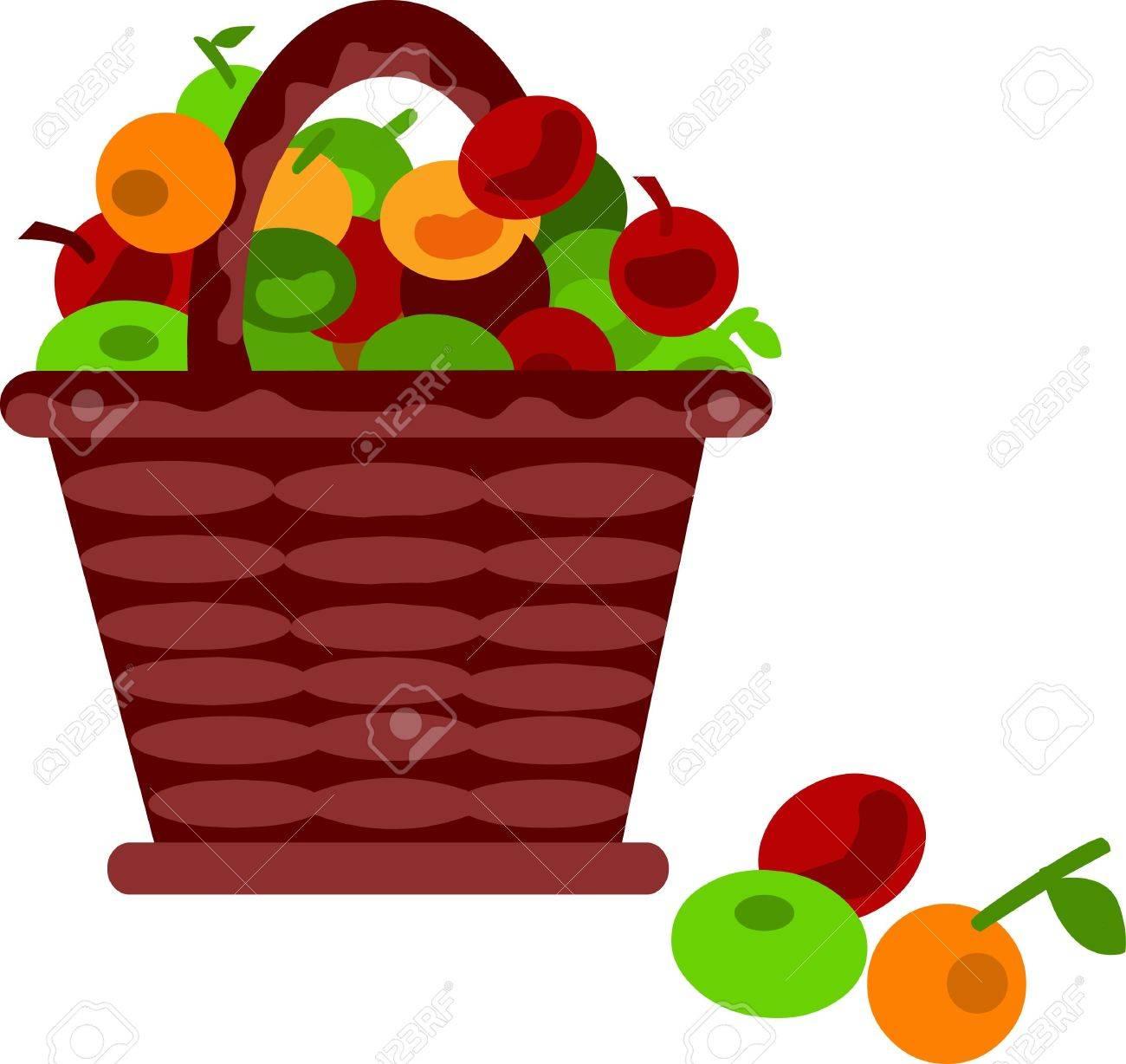 brown cartoon basket with fruits Stock Vector - 7526879