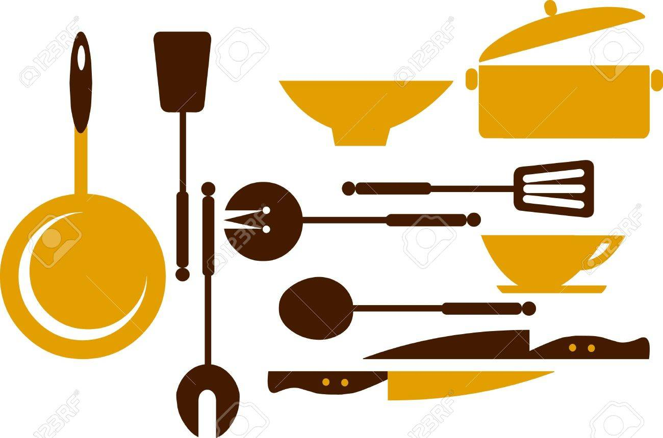kitchen tools; frying pan, knifes, and bowls Stock Vector - 7526867