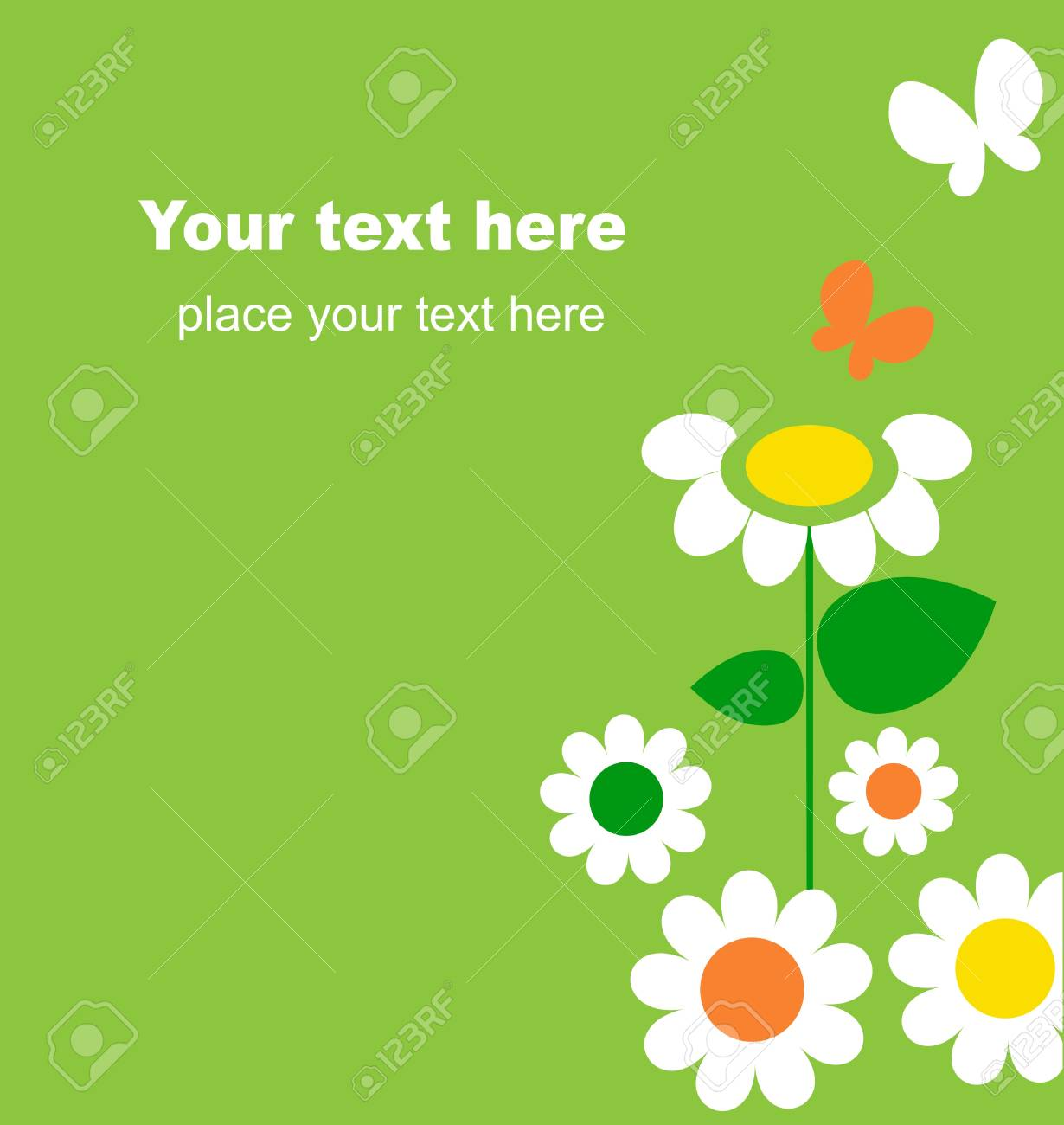 Springtime flowers and butterflies, vector illustration 1 Stock Vector - 9861797
