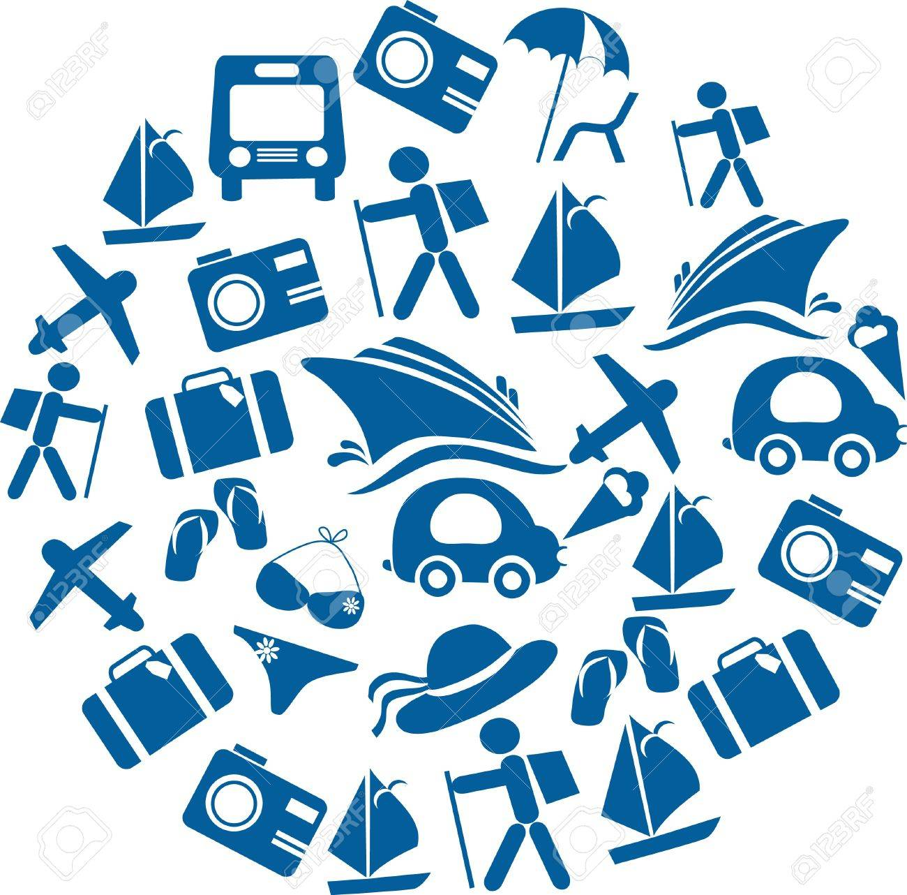 traveling and transportation icon set organised in a round Stock Vector - 9861865