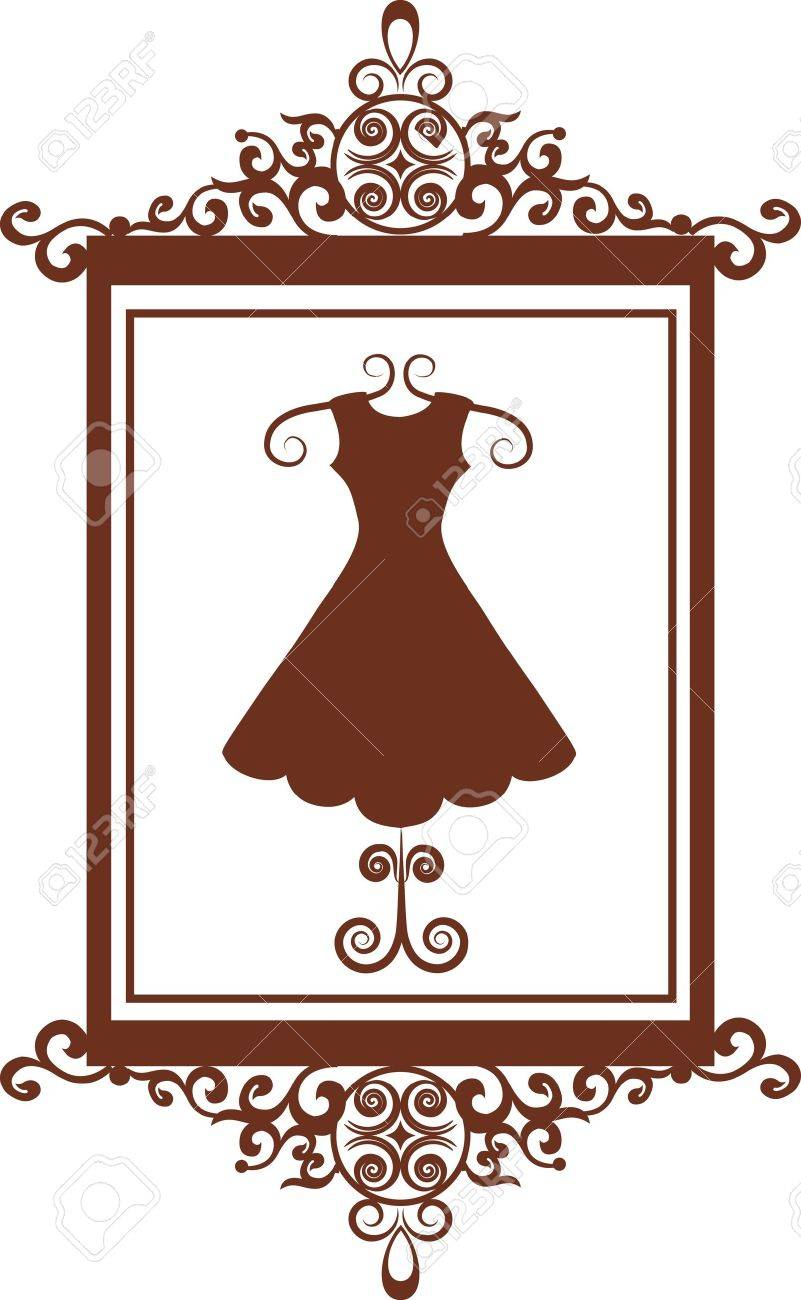 retro fashion boutique sign with dress , vector illustration Stock Vector - 9861857