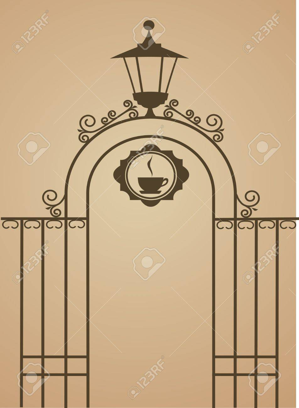 Ancient gate of restaurant or bar , vector illustration Stock Vector - 9861841