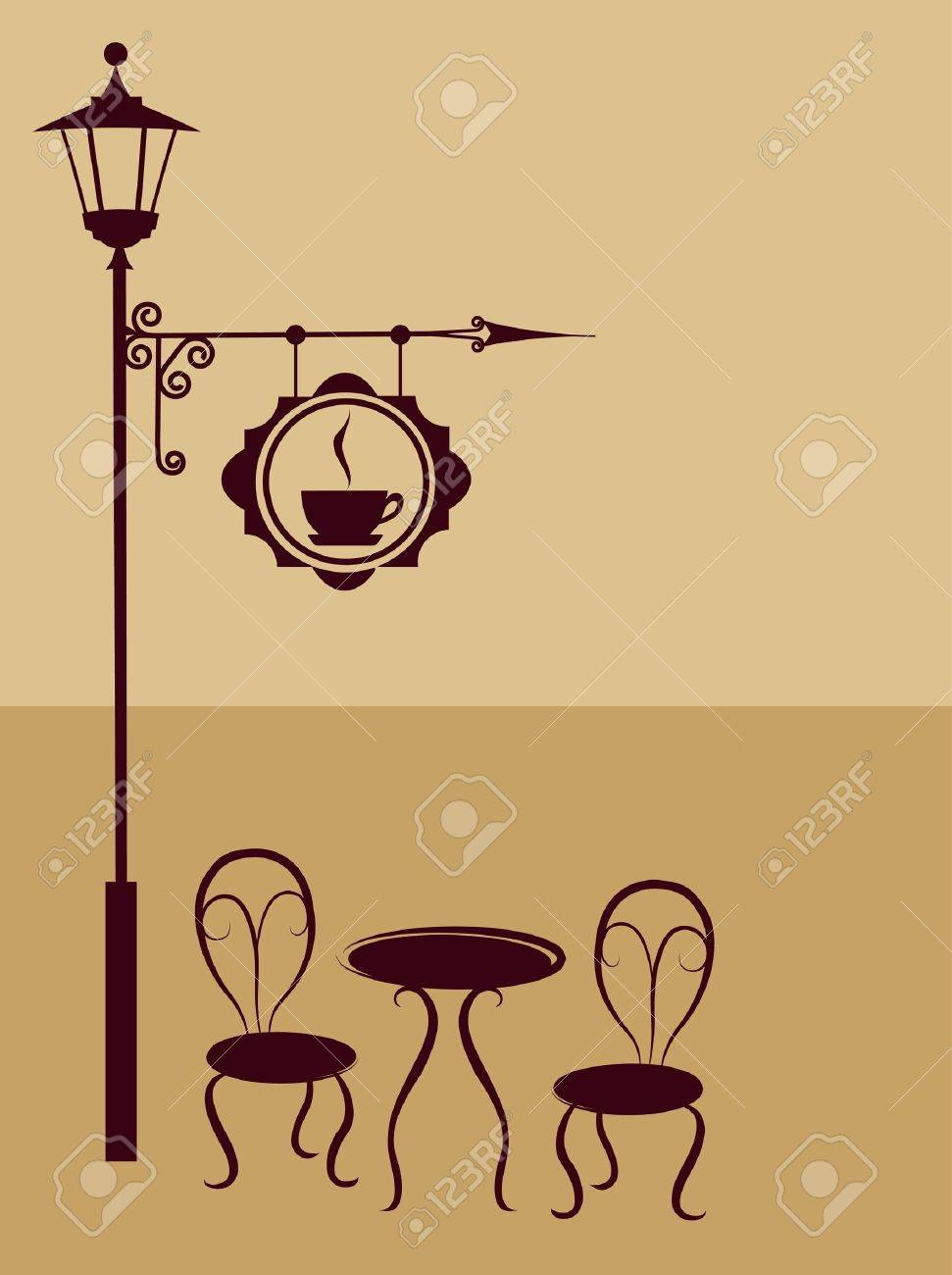 Restaurant tables and chairs clipart - Ancient Coffee Sign Of Restaurant Or Bar With Chairs And Table Stock Vector 9861927
