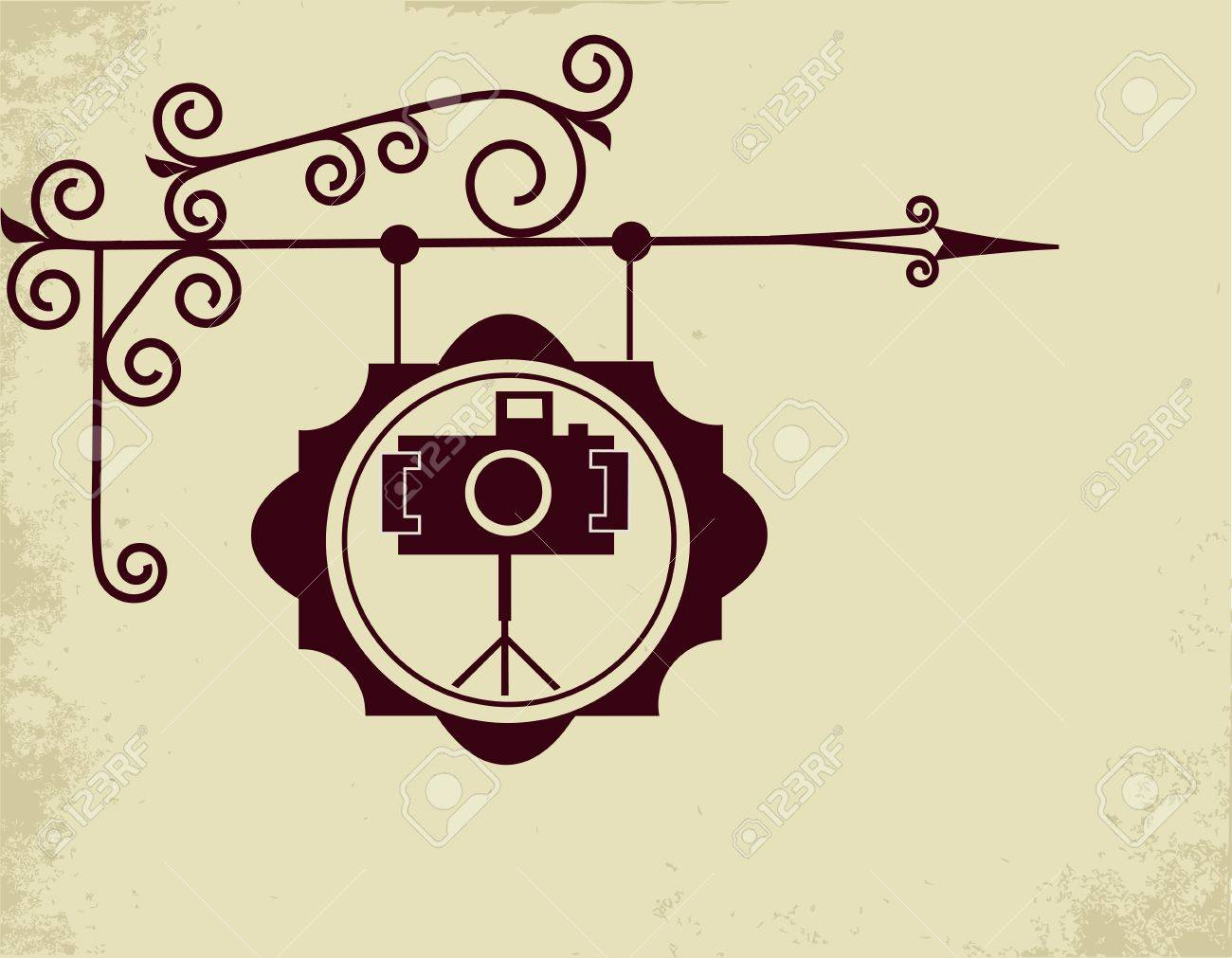 antique street sign of photo store Stock Vector - 9861983