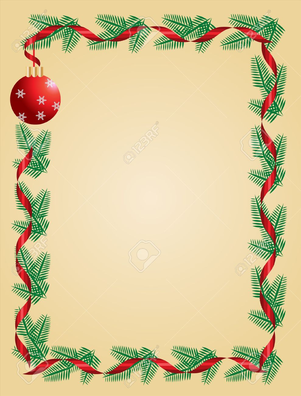 Christmas Wreath With Red Ribbon And Ball Greeting Card Template – Greeting Card Template