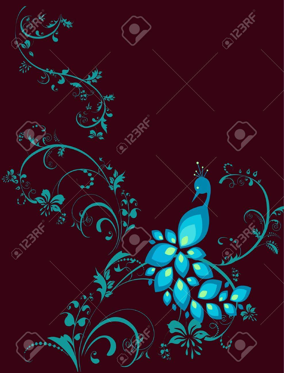 illustration of peacock with decarative plant Stock Vector - 10577883