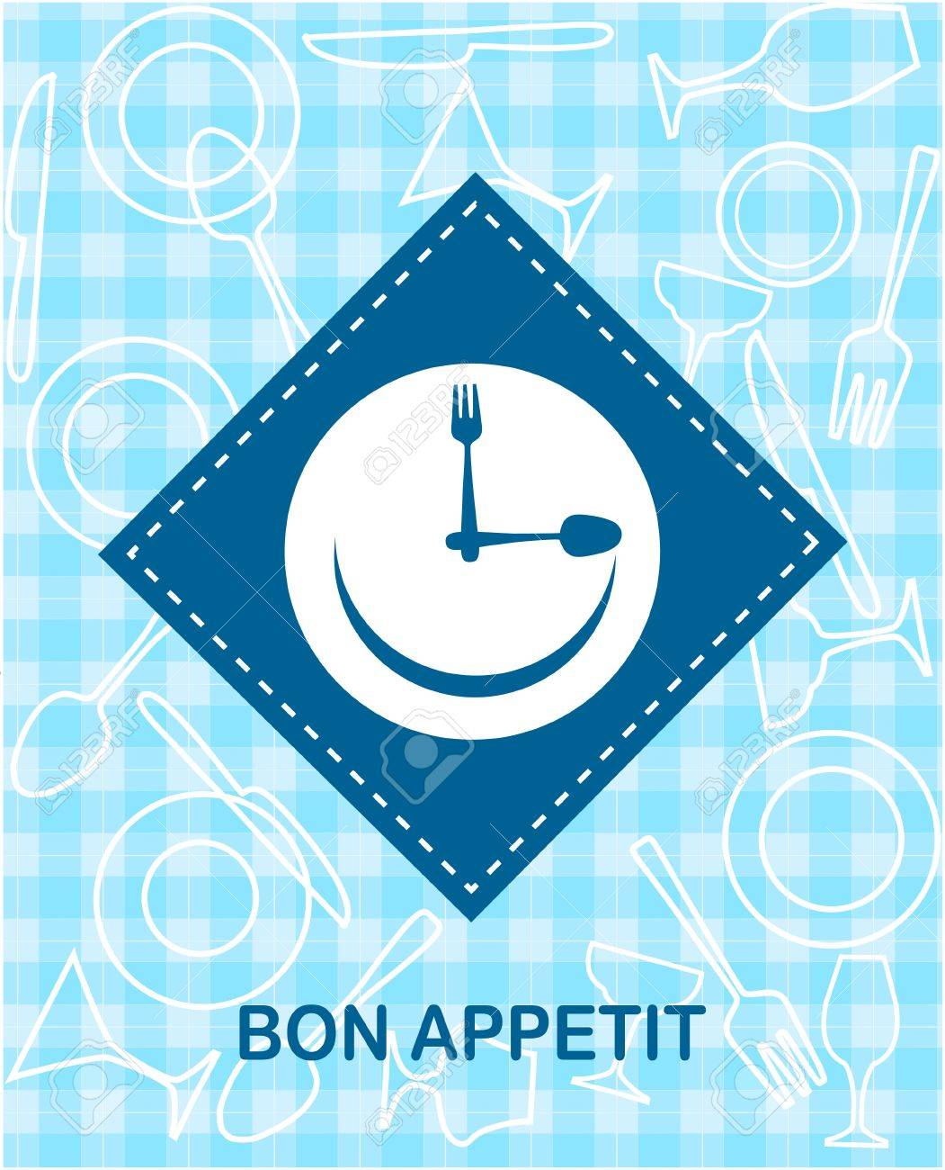 happy smiley clock with fork and knife Stock Vector - 10577884