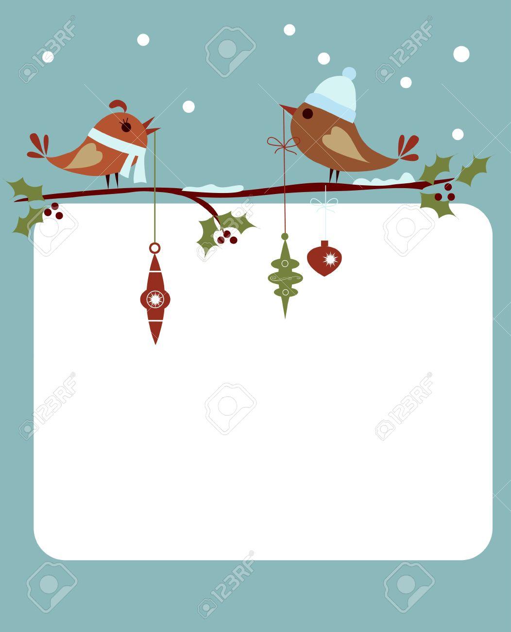 Vorlage Weihnachtskarte Mit Vögeln Lizenzfrei Nutzbare