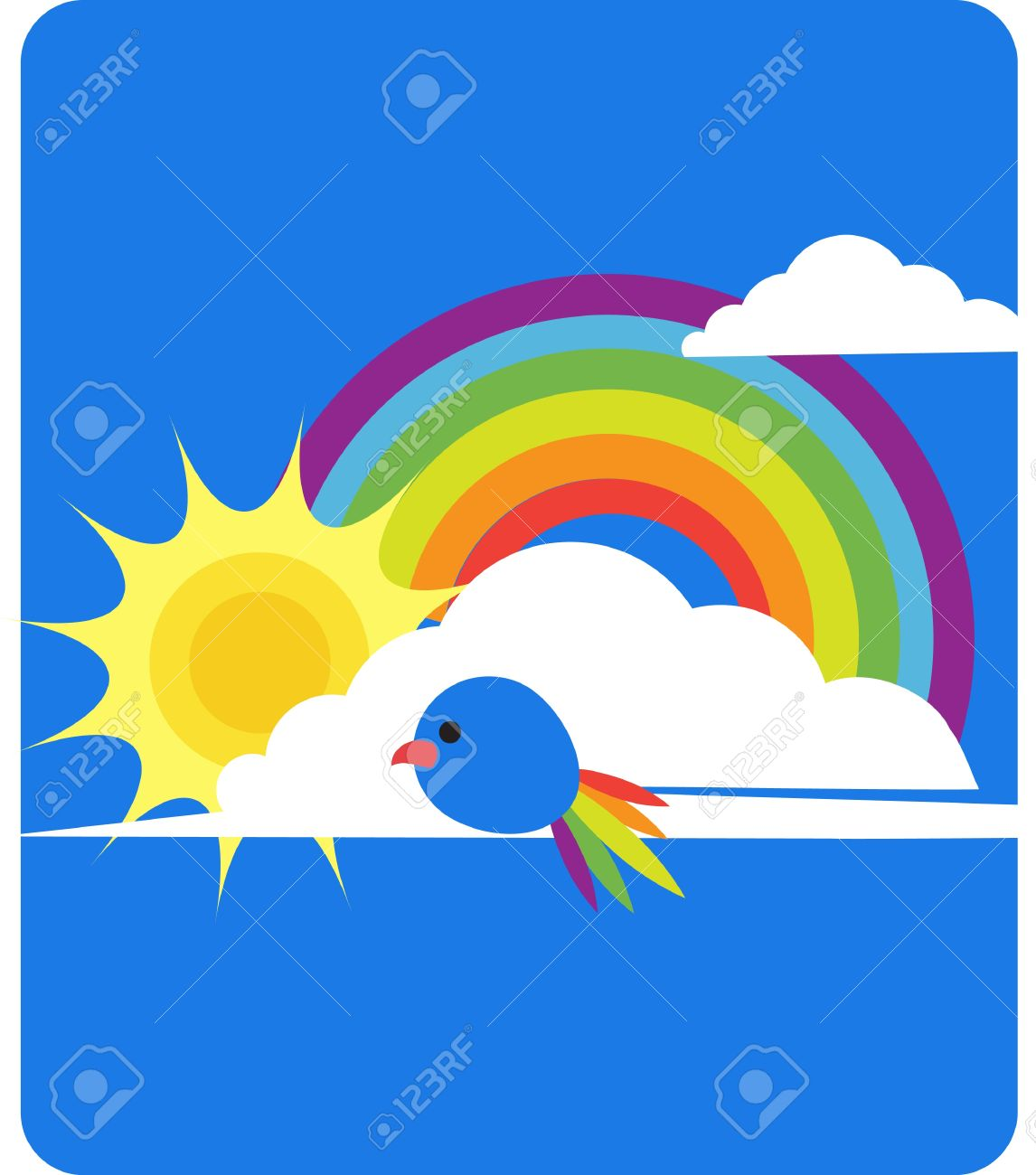sky view of rainbow sun clouds and bird royalty free cliparts