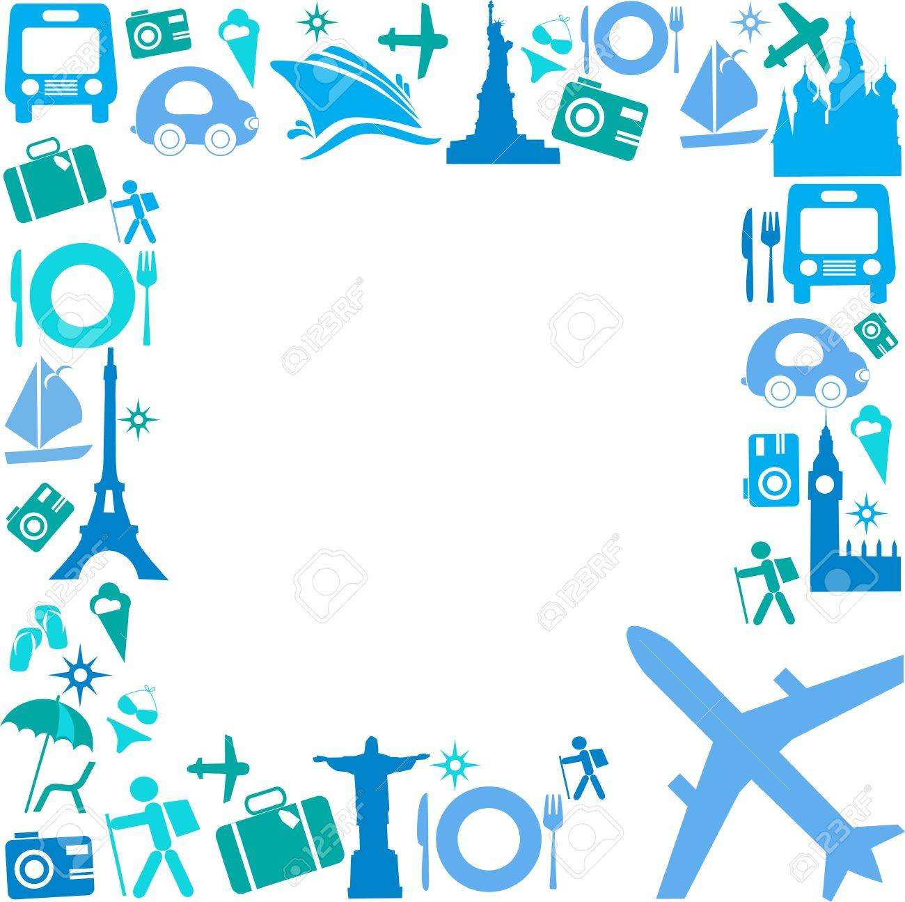 Frame with Travel icons - 12895517