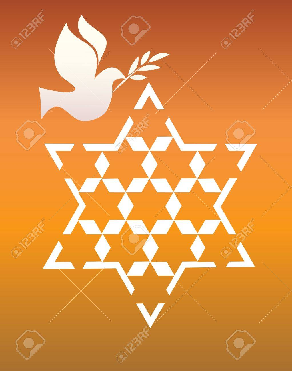 peace pigeon with david star on orange Stock Vector - 13180187
