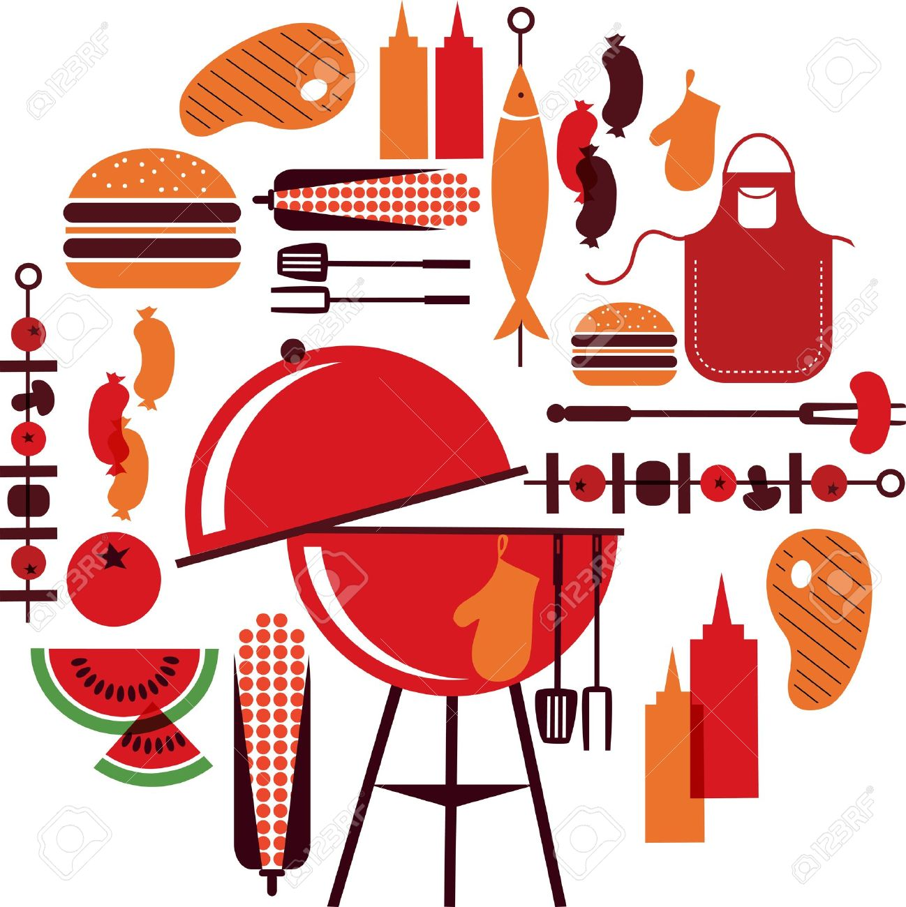 set of bbq objects Stock Vector - 14039908