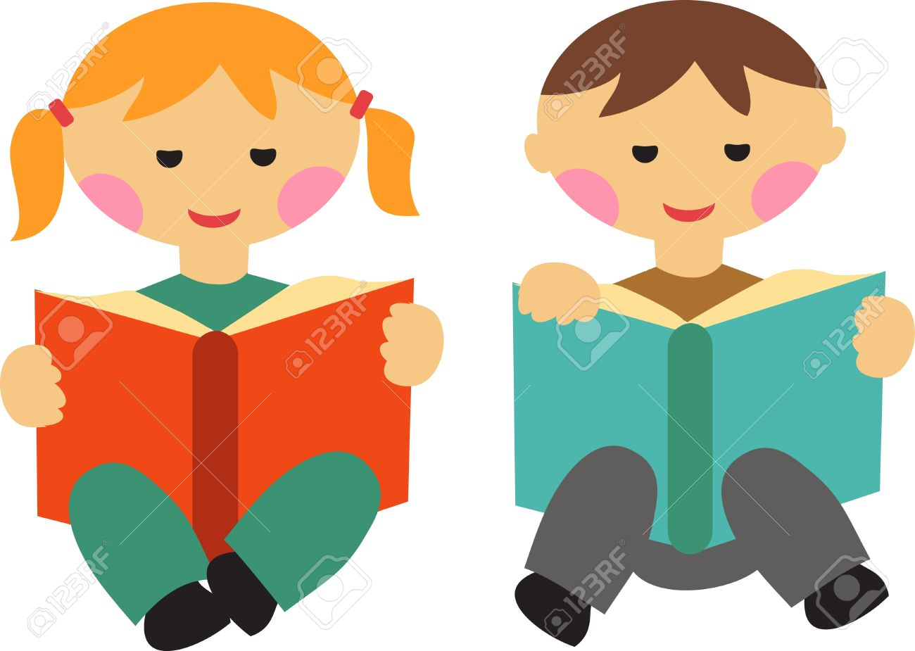 boy and girl reading books royalty free cliparts, vectors, and stock