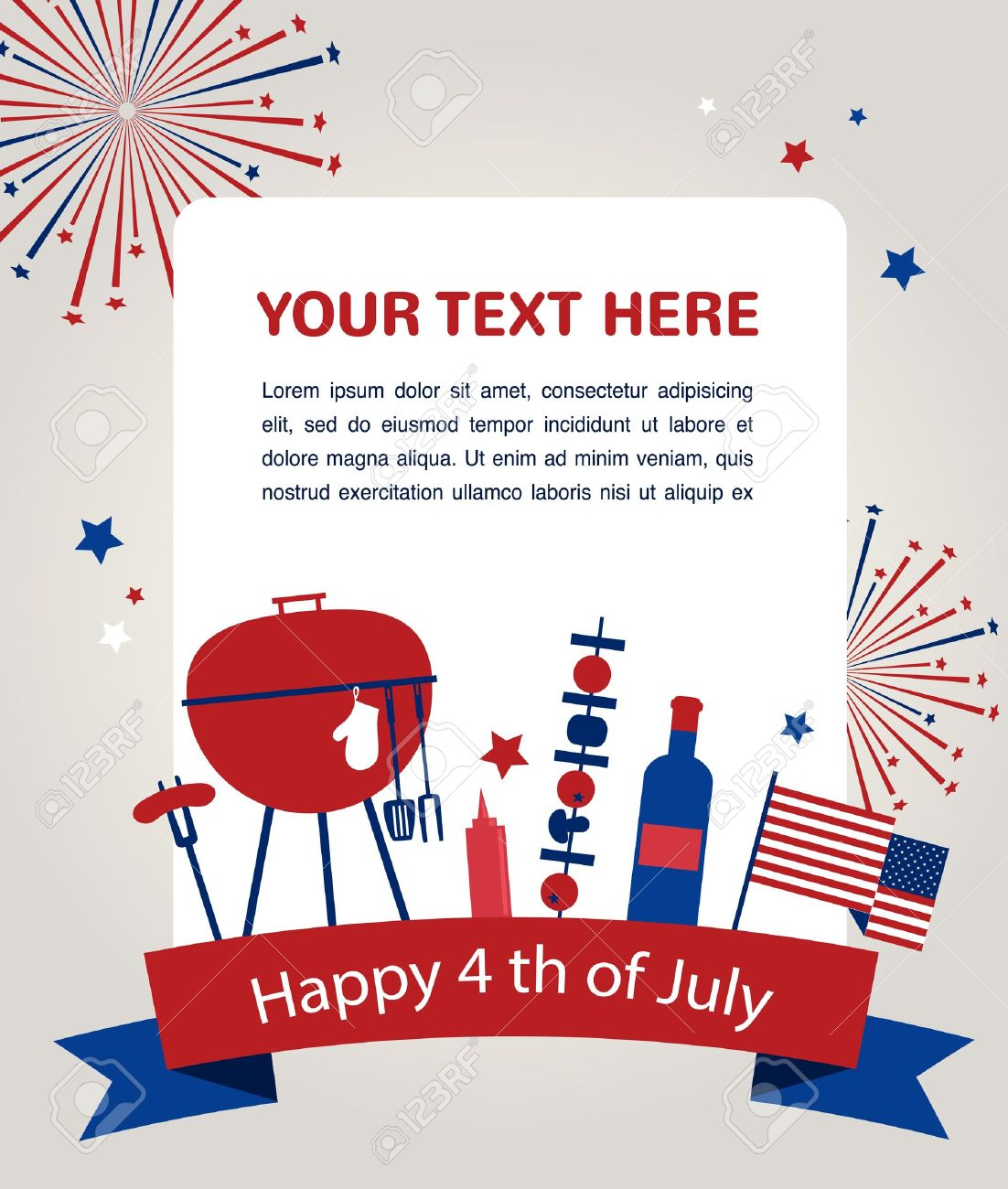 Happy Independence Day Of America Card Or Invitation Template