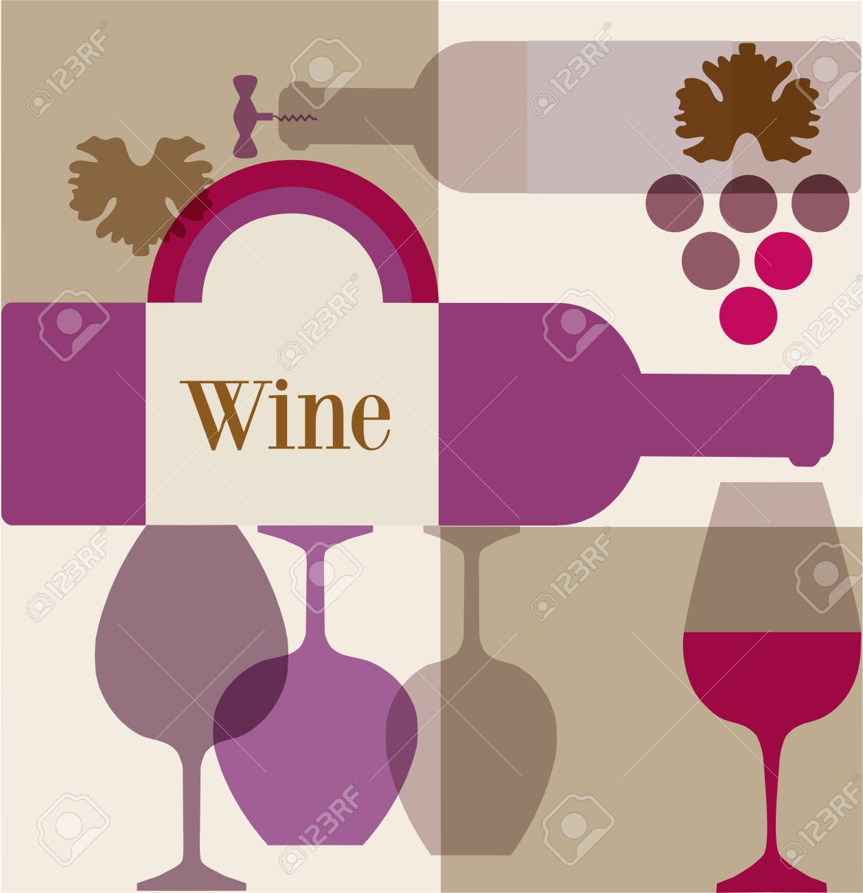 wine label or wine menu bar template design royalty free cliparts