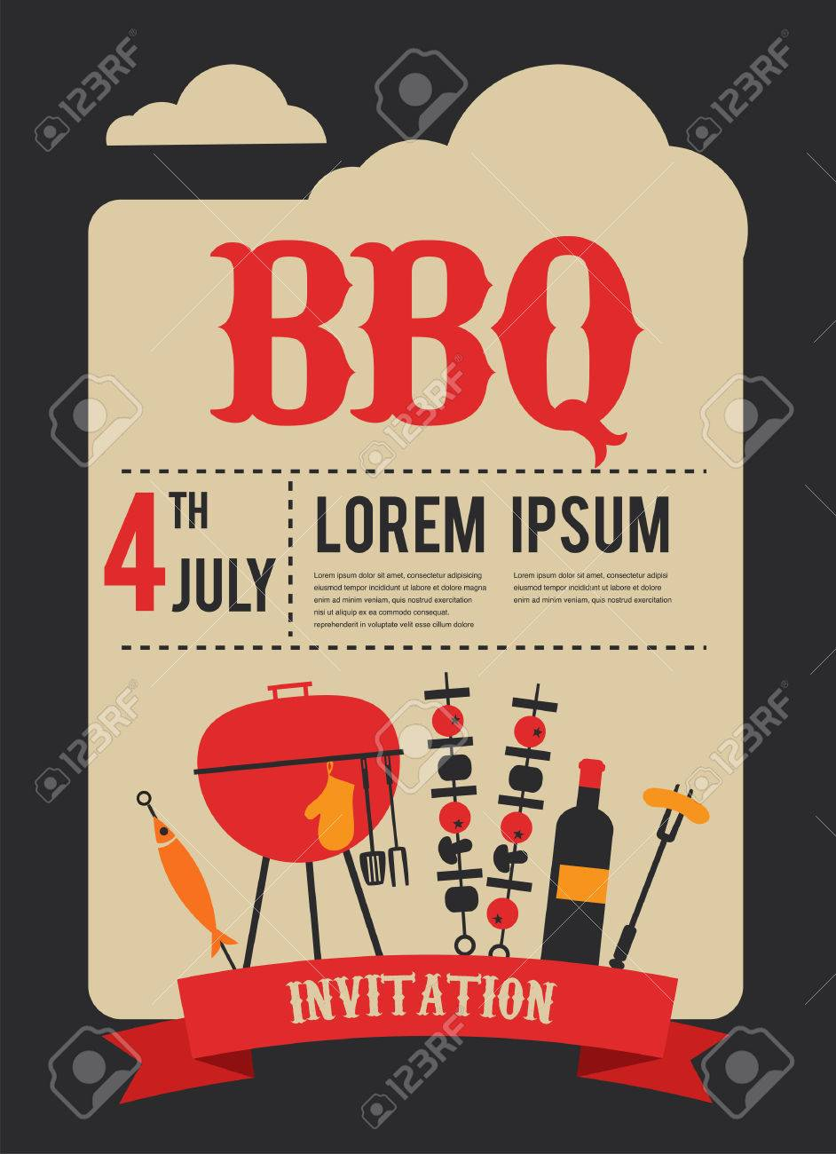 4th Of July BBQ Party Invitation Illustration Royalty Free