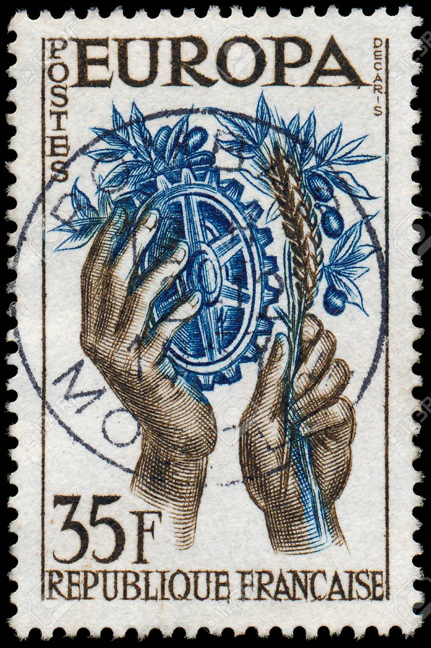 France Circa 1957 A Stamp Printed In The France Shows Hands
