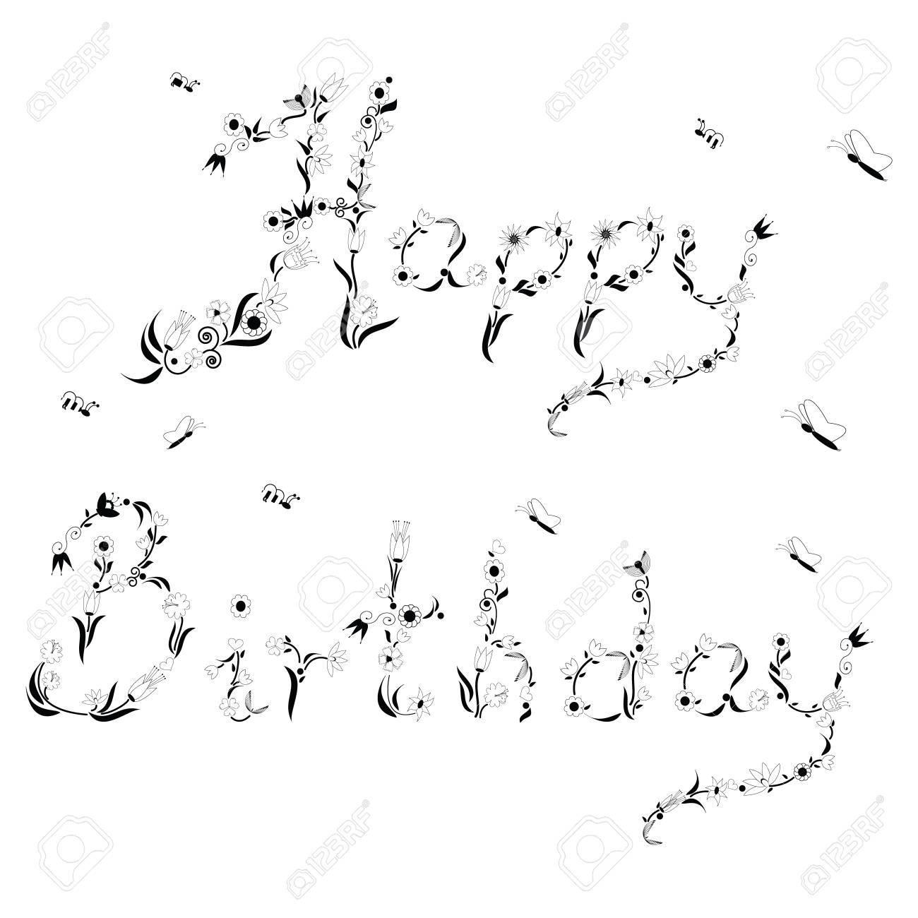 Fruhling Inspiriert Alles Gute Zum Geburtstag Zeichen Lizenzfrei