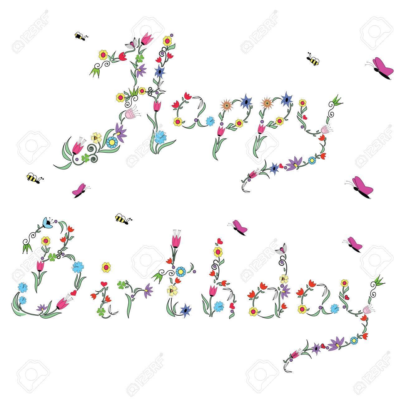 Fruhling Alles Gute Zum Geburtstag Zeichen In Farbe Mit Floralen