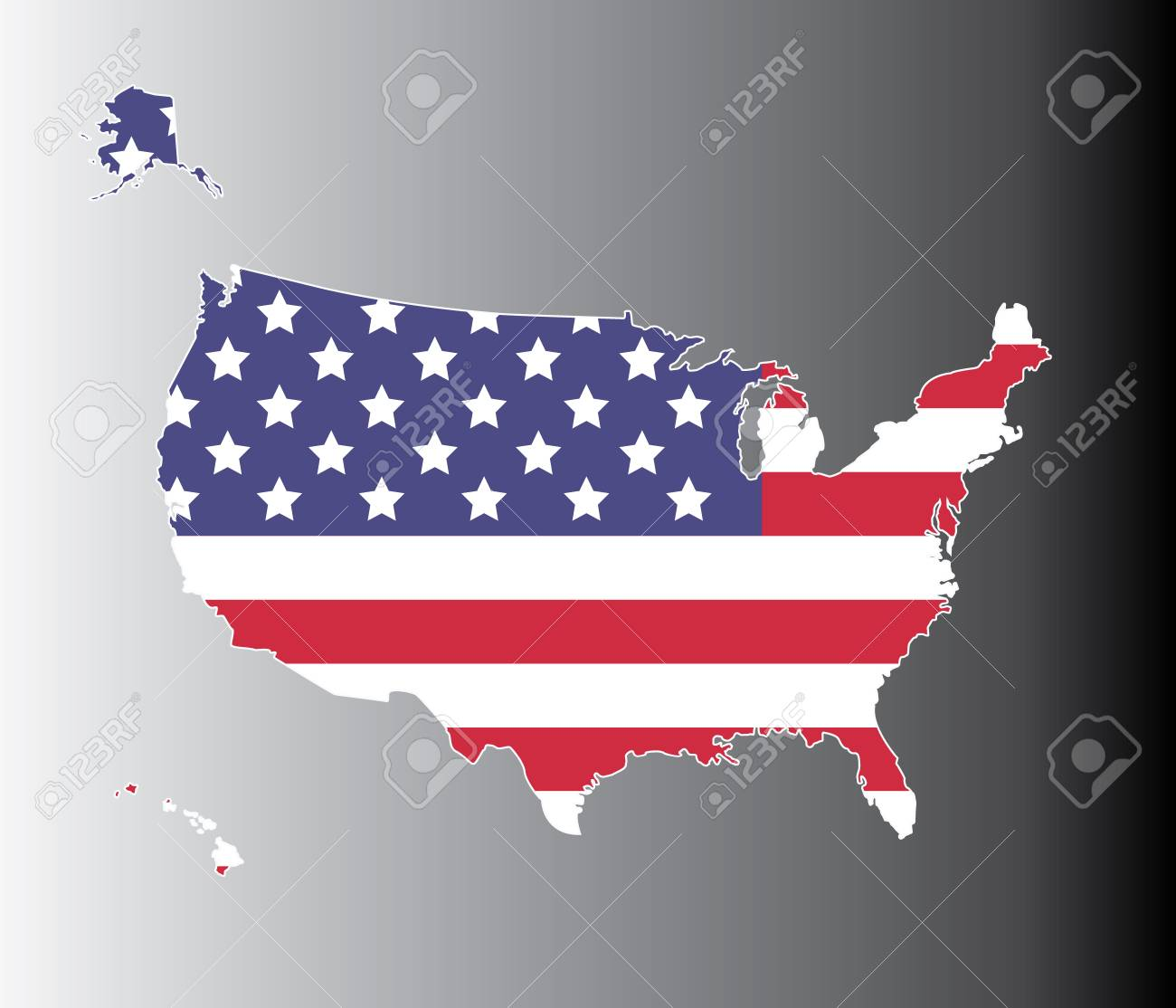 United States Map On The National Flag Element Background - Free united states map graphic