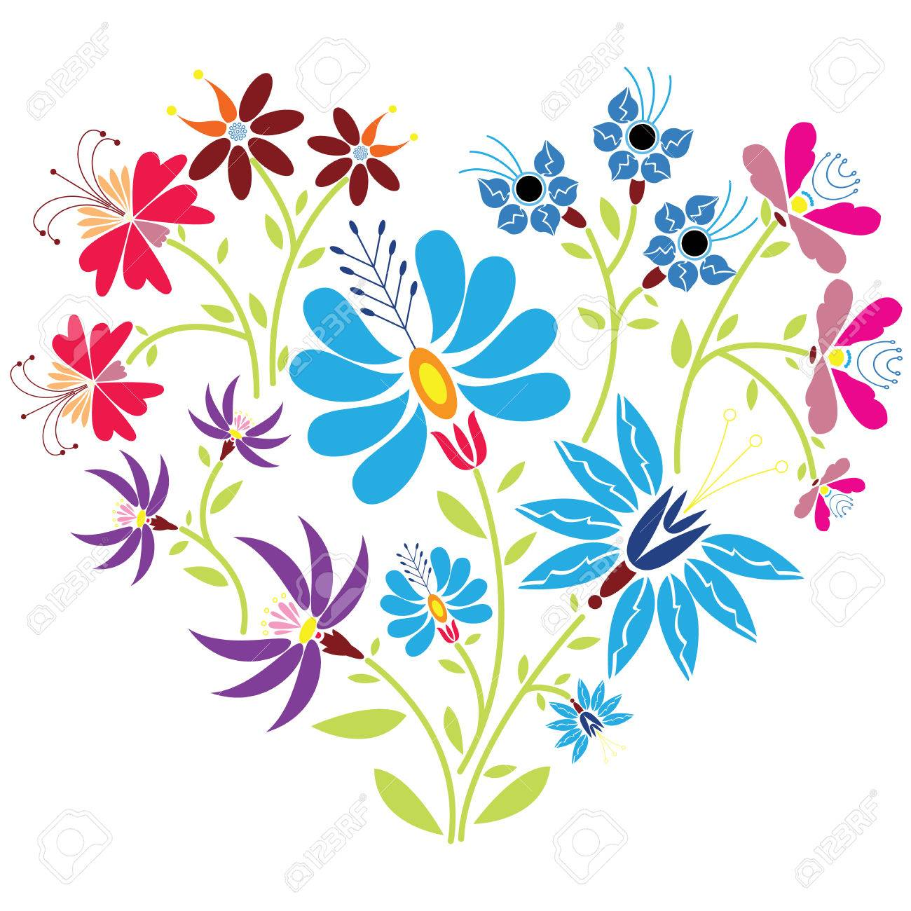 Tnico Popular Estampado De Flores En Forma De Corazón Sobre Fondo