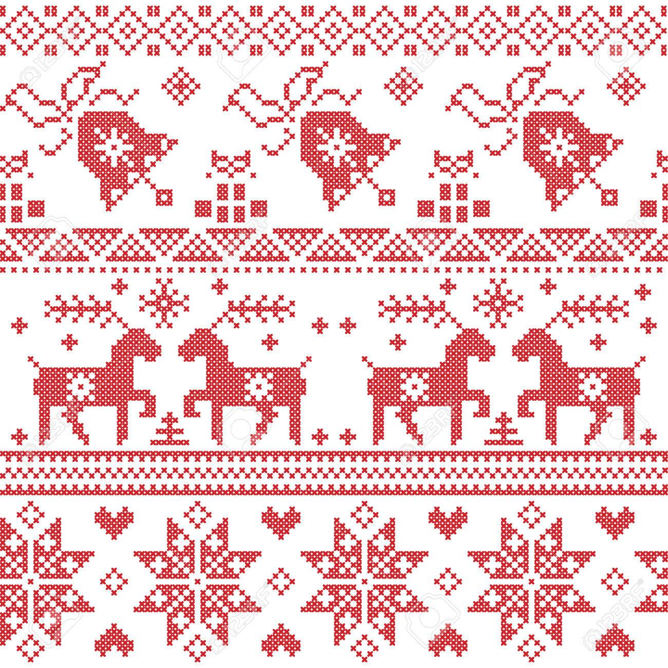 Patrón De Punto De Cruz Nórdica Navidad Incluyendo Reno, Copo De ...
