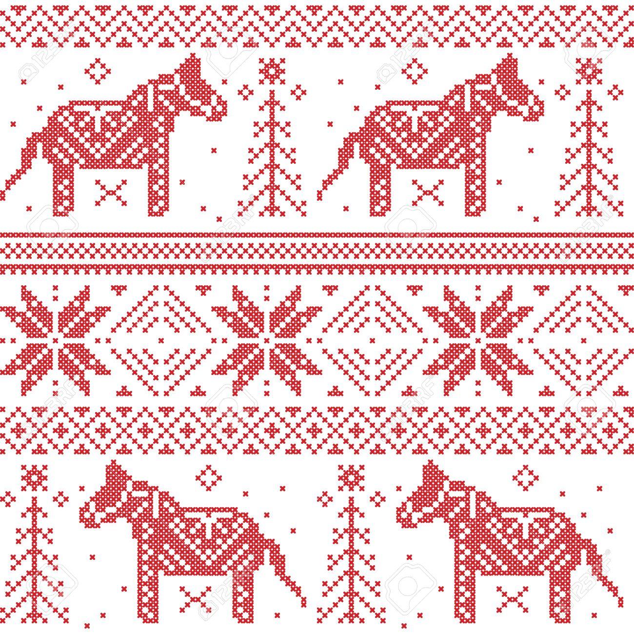 Patrón Nórdico Navidad Con Estrellas, Copos De Nieve, Caballos En ...