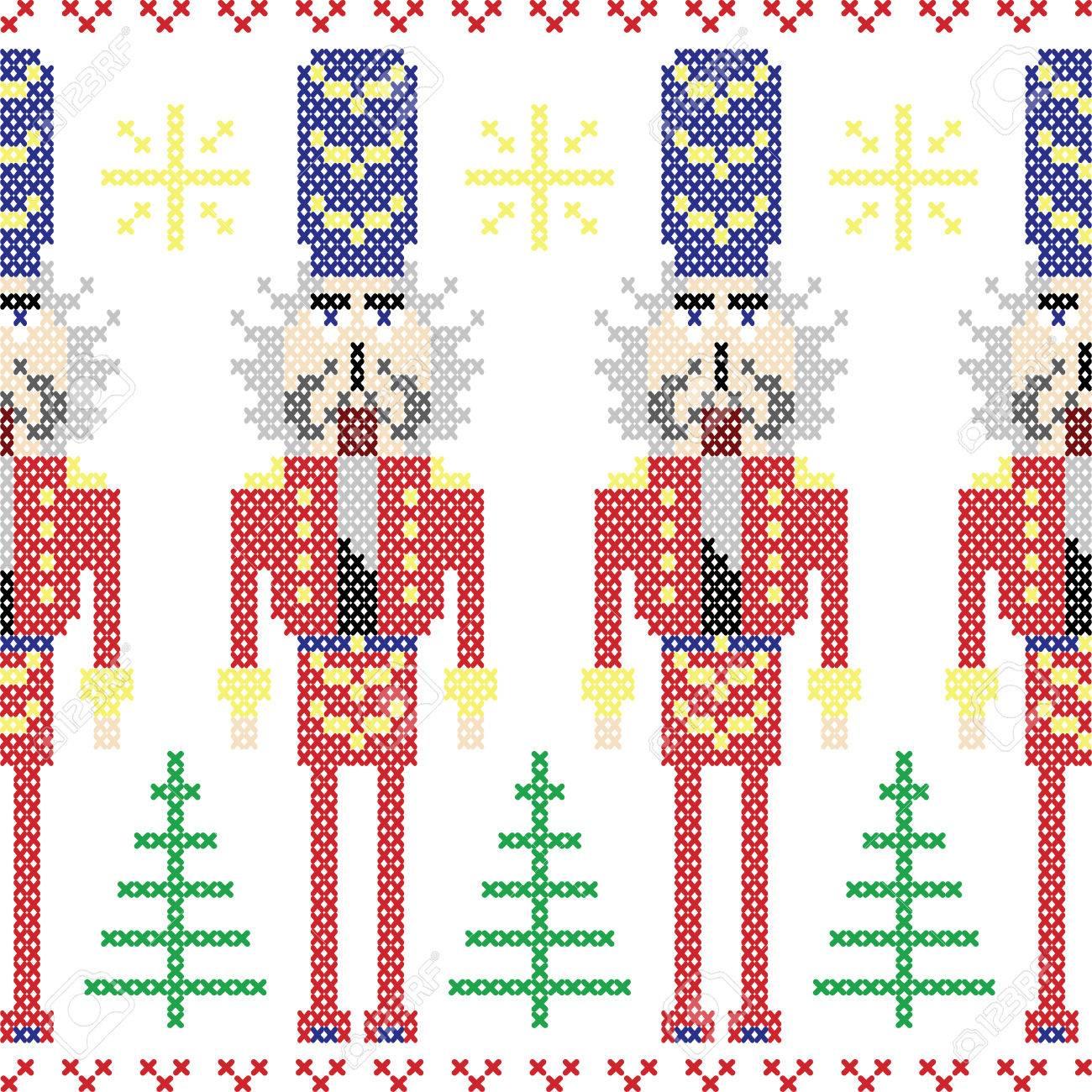 Soldados Del Cascanueces Sin Patrón Nórdico Navidad En Punto De Cruz ...