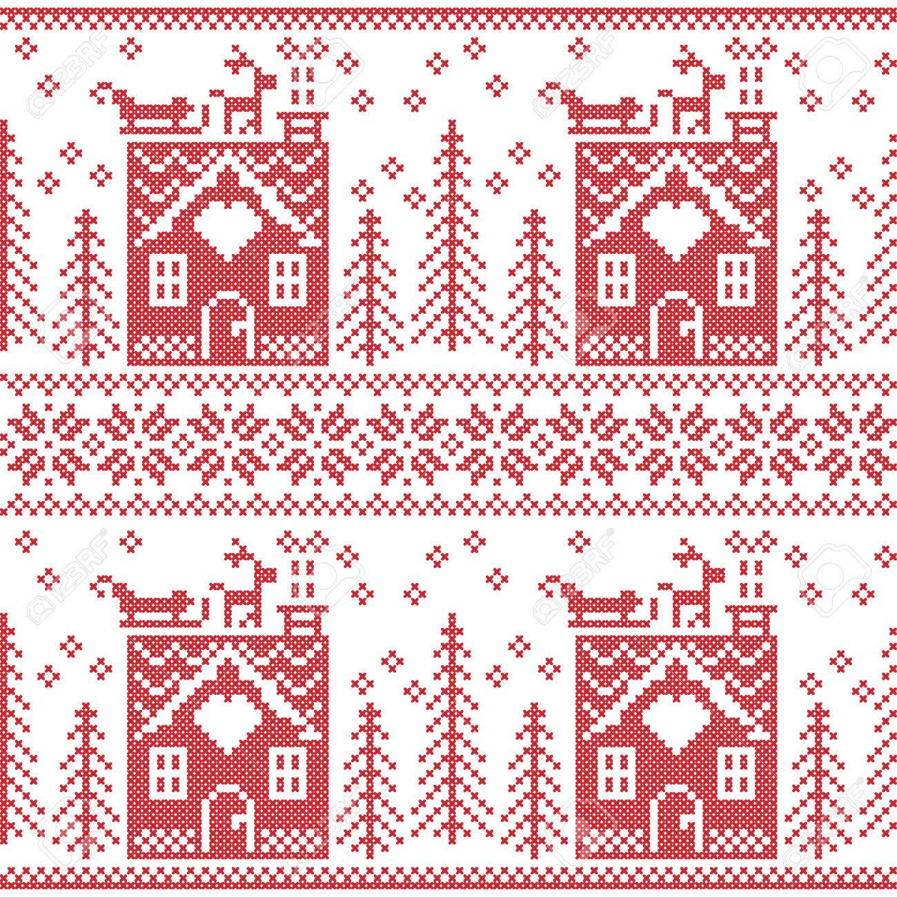 Scandinavian Nordic Christmas Seamless Pattern Royalty Free Cliparts ...