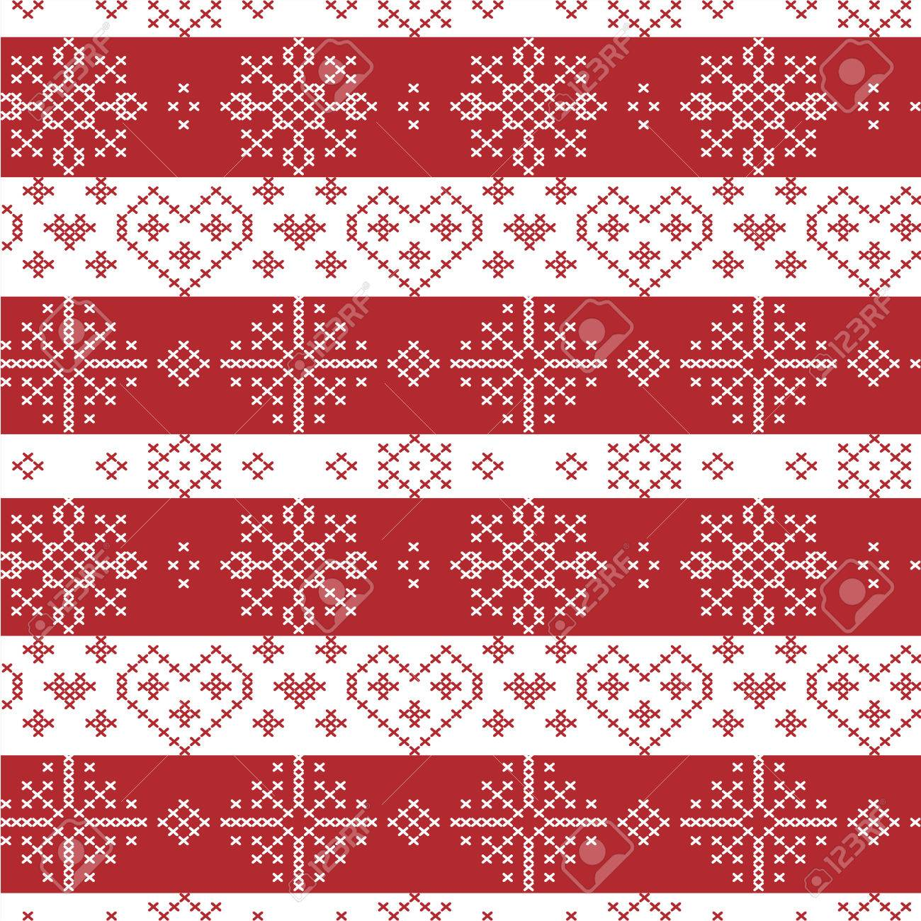 Red And White Nordic Christmas Seamless Pattern With Stars ...
