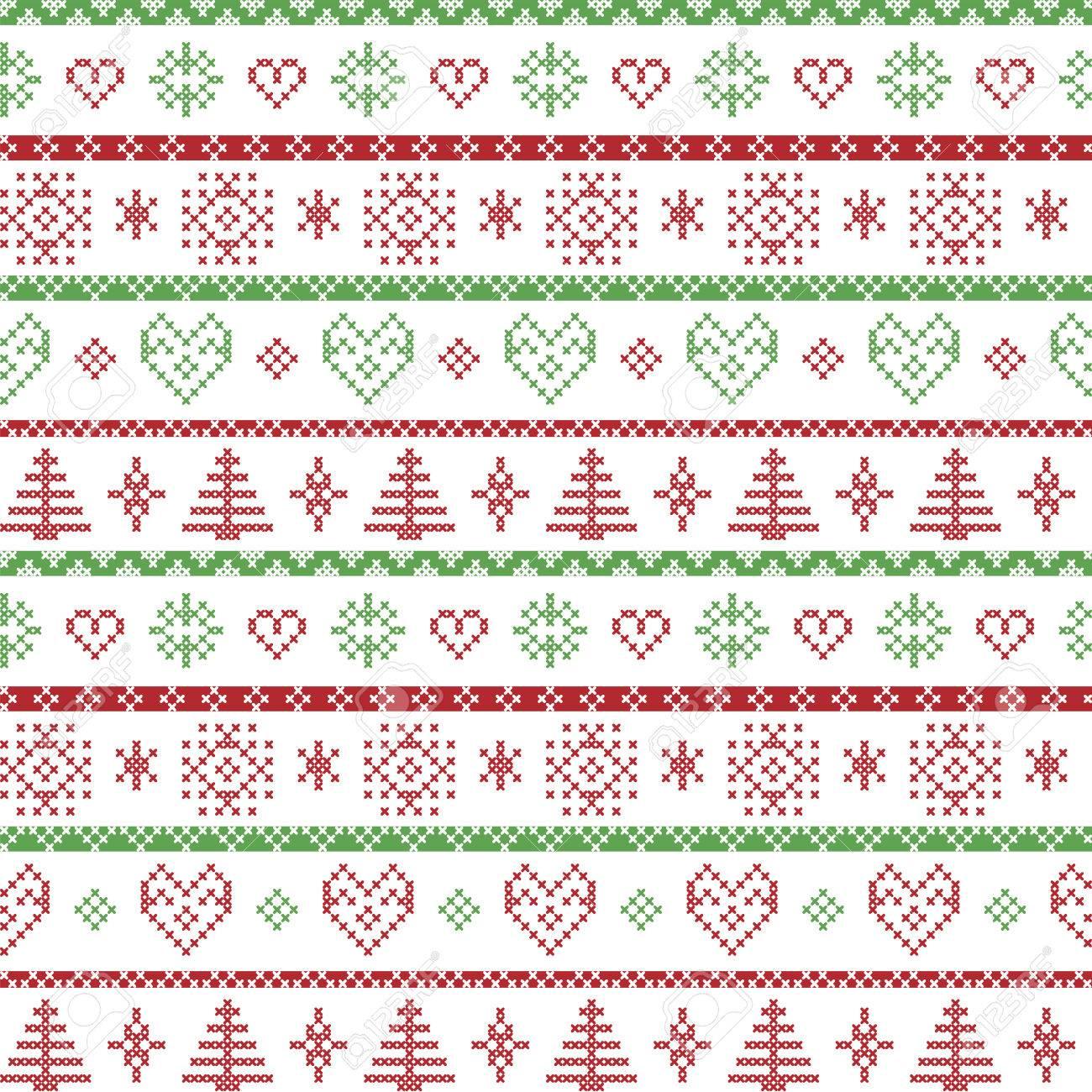 El rojo y el verde en el fondo blanco Patrón nórdico de Navidad con copos de nieve y árboles de navidad bosque adornos decorativos en tejer patrón ...