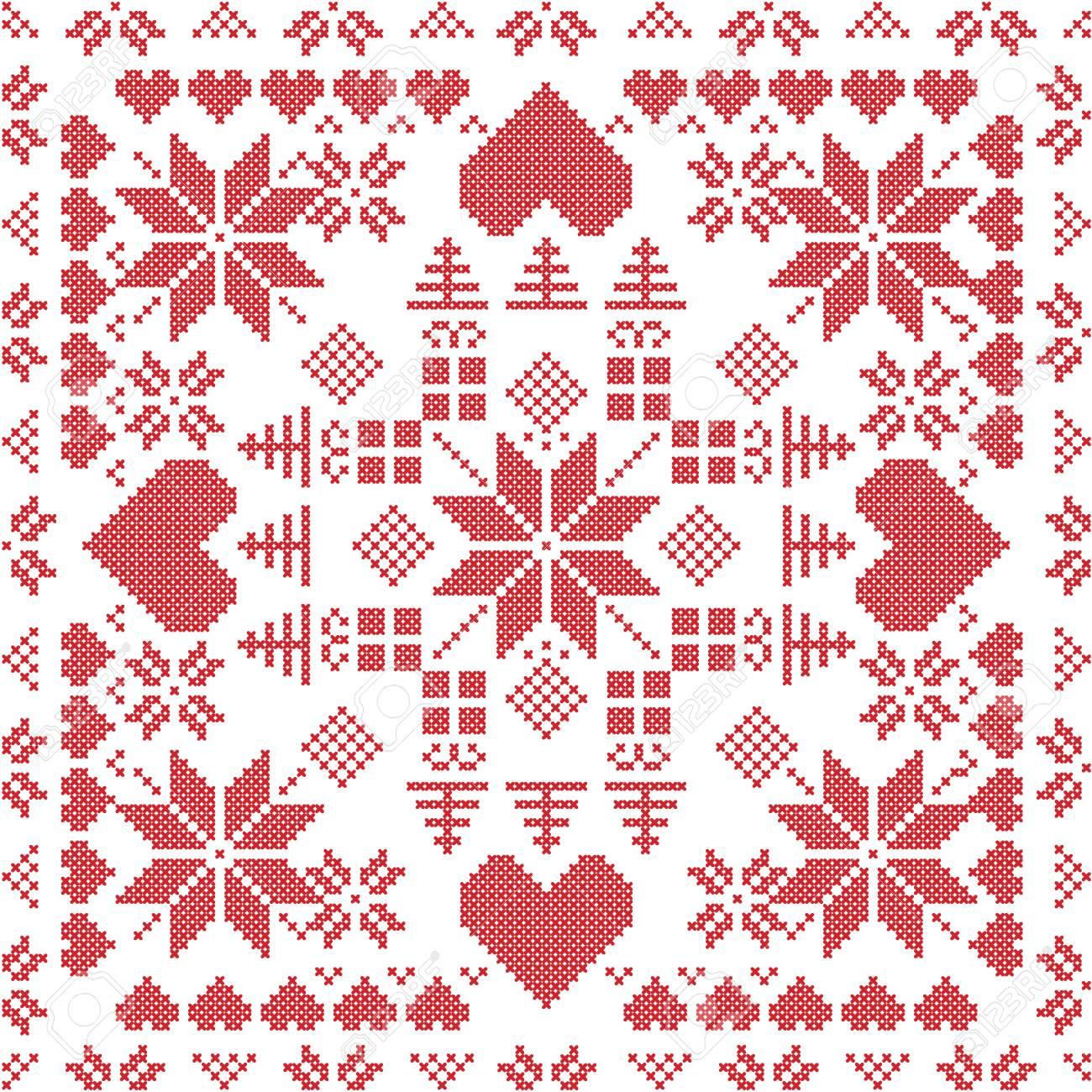 Estilo escandinavo stich invierno nórdico, tejer patrón transparente en la forma cuadrada que incluye copos de nieve, los regalos de Navidad, ...