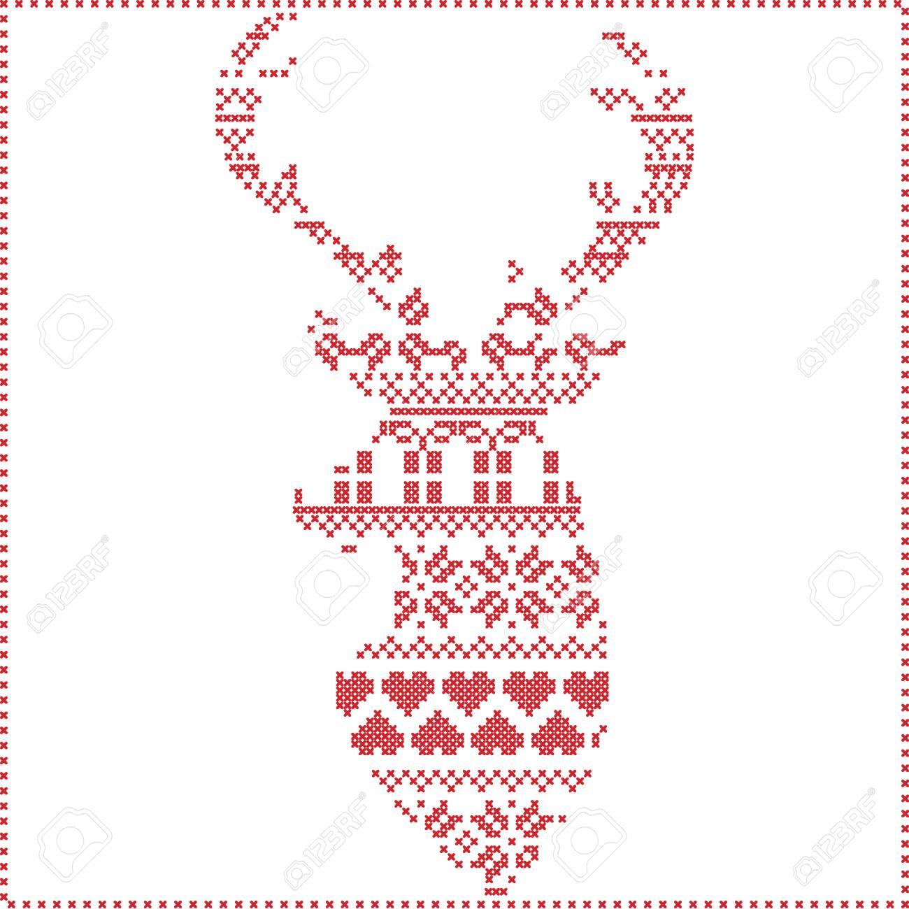 Escandinavo Puntada Invierno Nórdico, Tejer Patrón De Navidad En ...