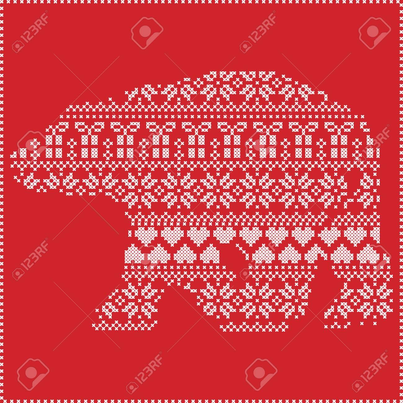 Scandinavian Nordic Winter Nähen Stricken Weihnachtsmuster In In ...
